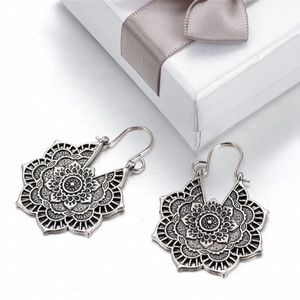 Antiqued Silver Boho Mandala Earrings